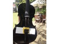 Brand new black 4/4 violin (no bridge)