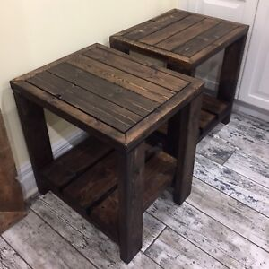 Set of 2 Rustic Wood End / Side Tables