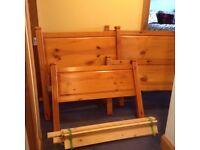 2 single pine bed frames