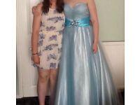 Size 14 floor length blue ballgown prom dress.