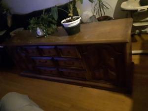 Brown wooden dresser for free