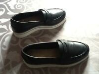 Brand new Aldo leather platform black loafers size 4.5