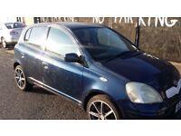 2005 in 54 plate Toyota Yaris 1.3cc Manual Petrol MOT and tax Drives greatly For repair or Export.
