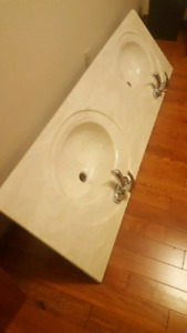 "67"" marble double sink vanity top"