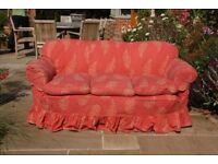 Traditional three seater sofa, with linen loose cover in used but good condition. Very comfy
