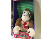 rare large donkey kong plush in display box with sound