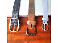 3 NEW Leather Belts - 105cm Petrol Ind - Distressed Camouflage, Plectrum - Sherman & Buzzard - Grey