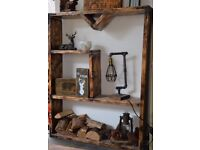 Handmade Solid Wood Shelf Unit Bookcase Burn made from Scaffolding Boards