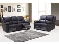 LEATHER RECLINER BLACK ONLY £499 RRP £1200