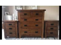 Solid Oak Chest of Drawers and bedside cabinets