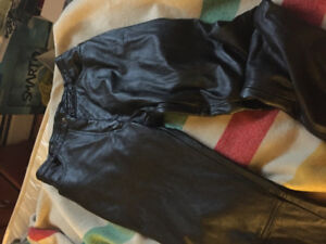 Leather biker jacket and leather pants