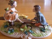 CAPODIMONTE FIGURINES BOY AND GIRL ON SEESAW SUPERB CONDITION