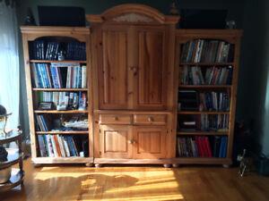 Bibliothèques et meuble de télévision en pin massif