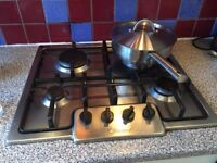Candy stainless steel 4 burner gas hob in good working condition