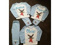 Personalised ANY name Bing Bunny pyjamas or ANY CHARACTER with FREE uk postage