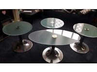 PEDRALI TEMPERED GLASS TABLES SET OF FOUR SILVER CHROME STANDS EXCELLENT CONDITION RRP 300 PLUS