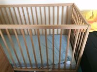 Ikea SNIGLAR cot with mattress