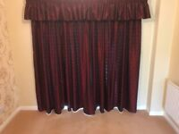 Burgundy curtains with pelmet