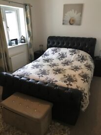 King size leather roll top bed rrp £999