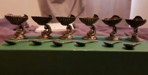 Set of 6 silver salt cellars and spoons. All original.