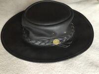 Leather Bush hat - size large