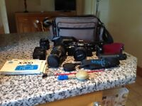 MINOLTA X-700 SLR CAMERA, Lenses, flash, accessories, case and carrying case with full manual