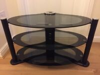 Black and silver 3 tiered glass TV stand