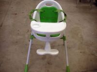 Children's Kids Baby High Chair with Foot Rest / Tray / Plate. Safety Highchair.