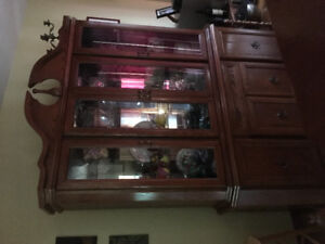 Hutch, table and chairs