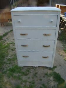 Solid wood 4 drawer painted arctic white
