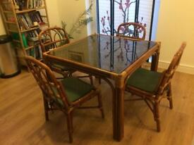 Wicker, glass table with 4 chairs