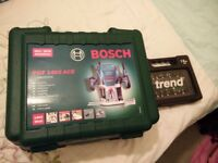 BOSCH POF 1400 ACE Router ++immaculate condition and barely used++ plus 12 pc extra routing bit set