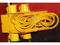 4 Way Junction Box Splitter Plus Cable Extension, Plugs, Three Phase Sockets.