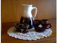 BAY KERAMIK mind century West German jug vase and complimenting egg cups