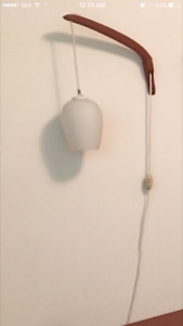 Mid-Century teak hanging wall light with glass pendant shade