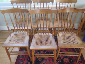 6 CHAIRS, wooden, cane seats