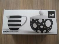 S&P FINE BONE CHINA SUGAR BOWL AND CREAMER SET