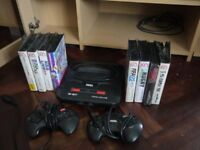 Sega Mega Drive 2 with games