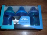 Tommee Tippee blue bottles