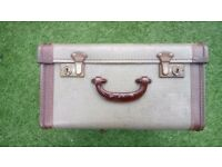 Vintage and original 1940 50's (retro) style small hard grey and brown suitcase.