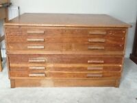 Plan chest for art / paper / storage A0 size, Arts & Crafts style, wooden