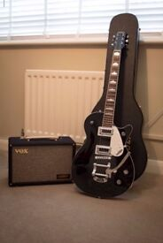 Gretsch Pro Jet with Bigsby with hard case and Vox amp