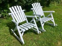 2 Large Rustic Wooden Garden Rocking Chairs *** £69 Each ***