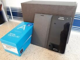 Samsung A3 Black 2014, in grey flip case original box & bits.Unmarked excellent condition unlocked.