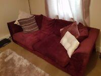 Purple corner and 3 seater sofa