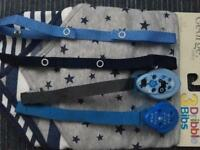 Boys Dribble Bibs, Dummy Clips, Secure A Toy