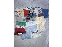 Boys vest and sleep suits 0-3 months