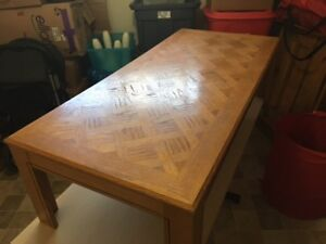 Coffee table, office desk and large utility table for sale.
