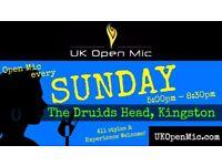 UK Open Mic | 5pm | EVERY SUNDAY @ The Druids Head, Kingston (Richmond, Surbiton, Hampton Wick)