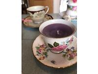 A collection of vintage teacup And Saucer candles and cake stands for weddings, events and tea party